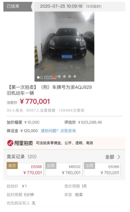 1元起拍的保时捷77万成交,14万人围观!
